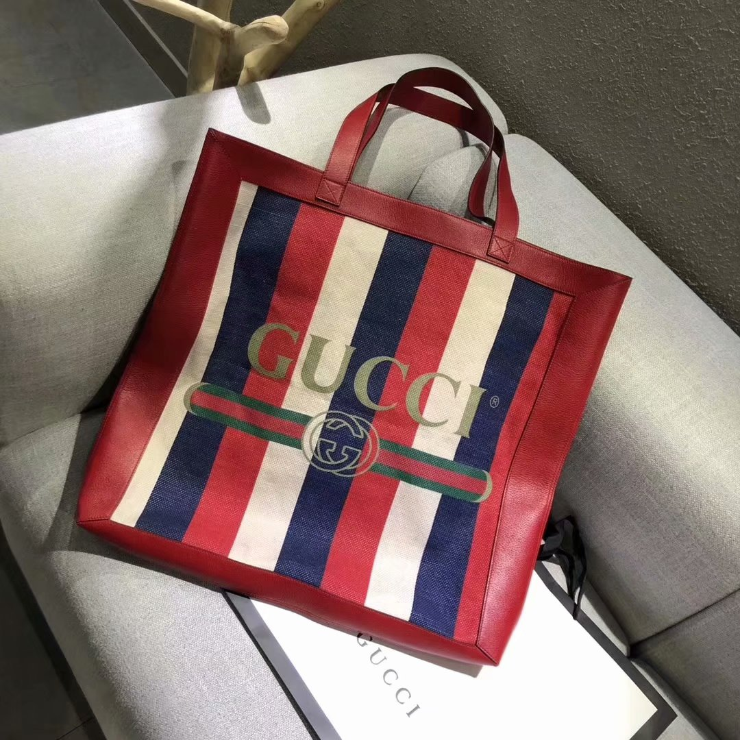 2018 NEW Gucci Gucci Print Large Tote Women Shopping Bag Leather Red