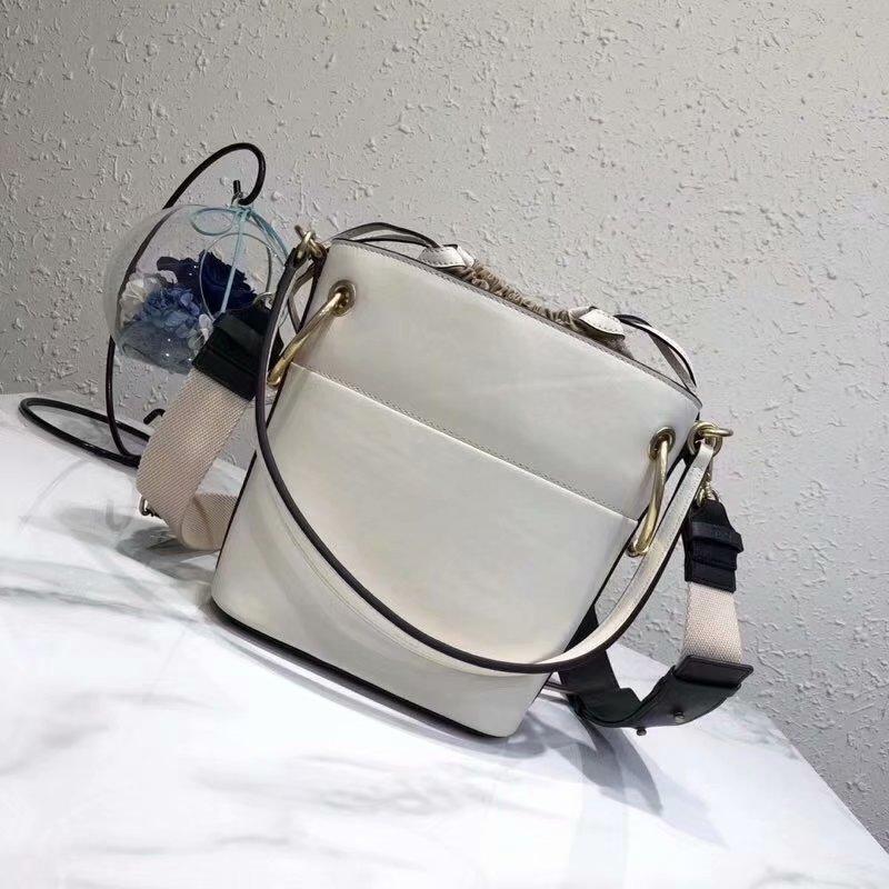 2018 New Chloe Mini Roy Bucket Bag in Smooth Calfskin White