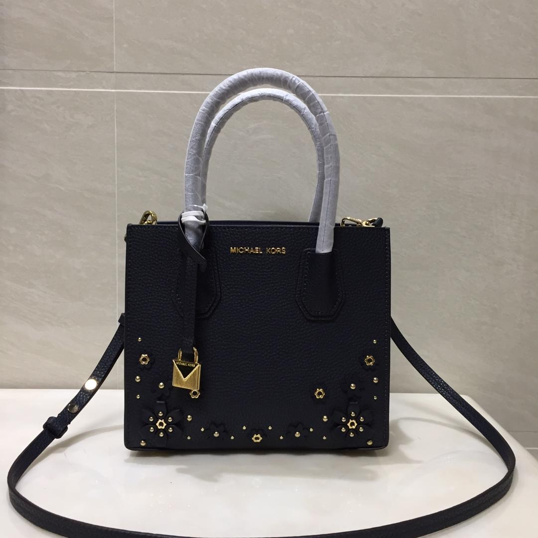 2018 New Replica Michael Kors Mercer Leather Tote Bag With Flower Black