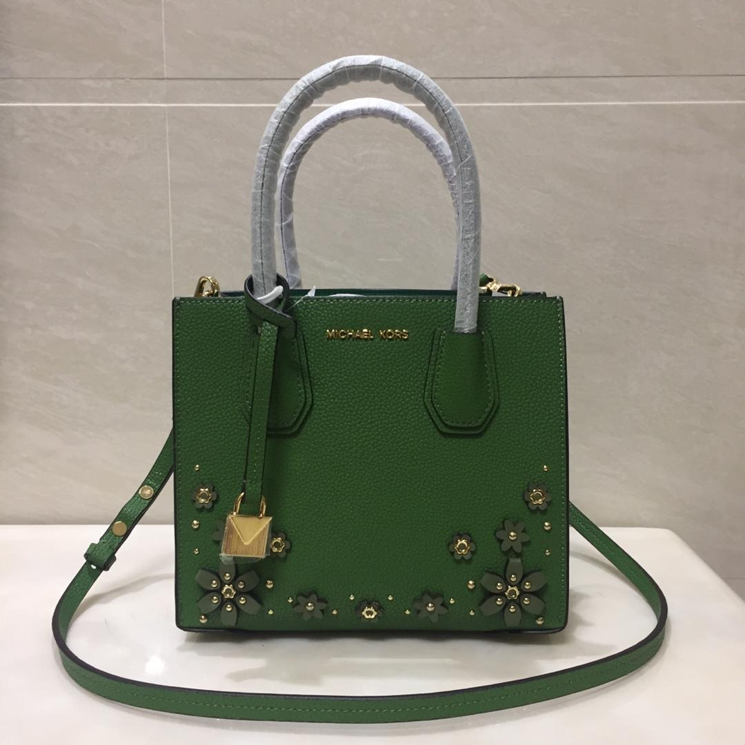 2018 New Replica Michael Kors Mercer Leather Tote Bag With Flower Green