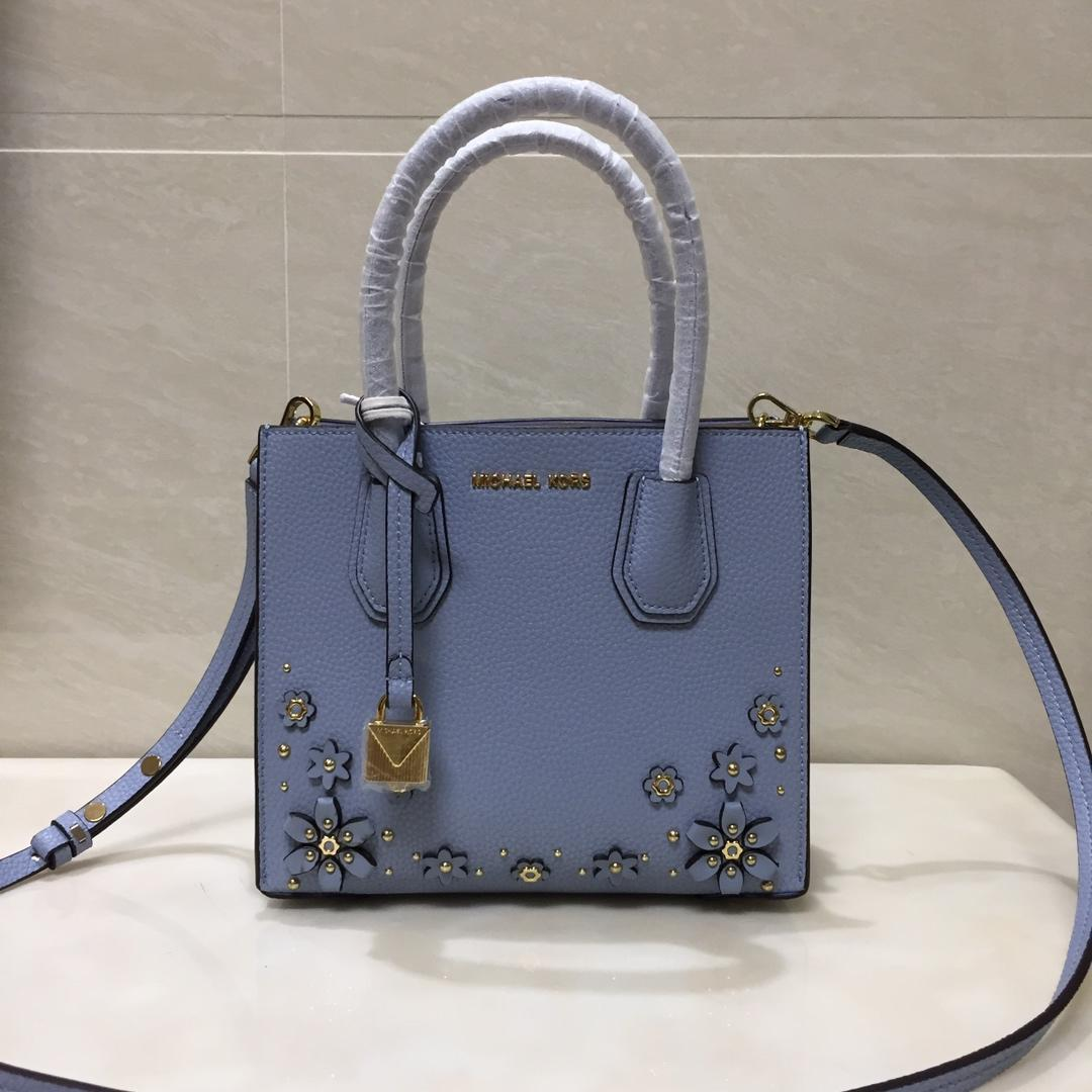2018 New Replica Michael Kors Mercer Leather Tote Bag With Flower Light Blue