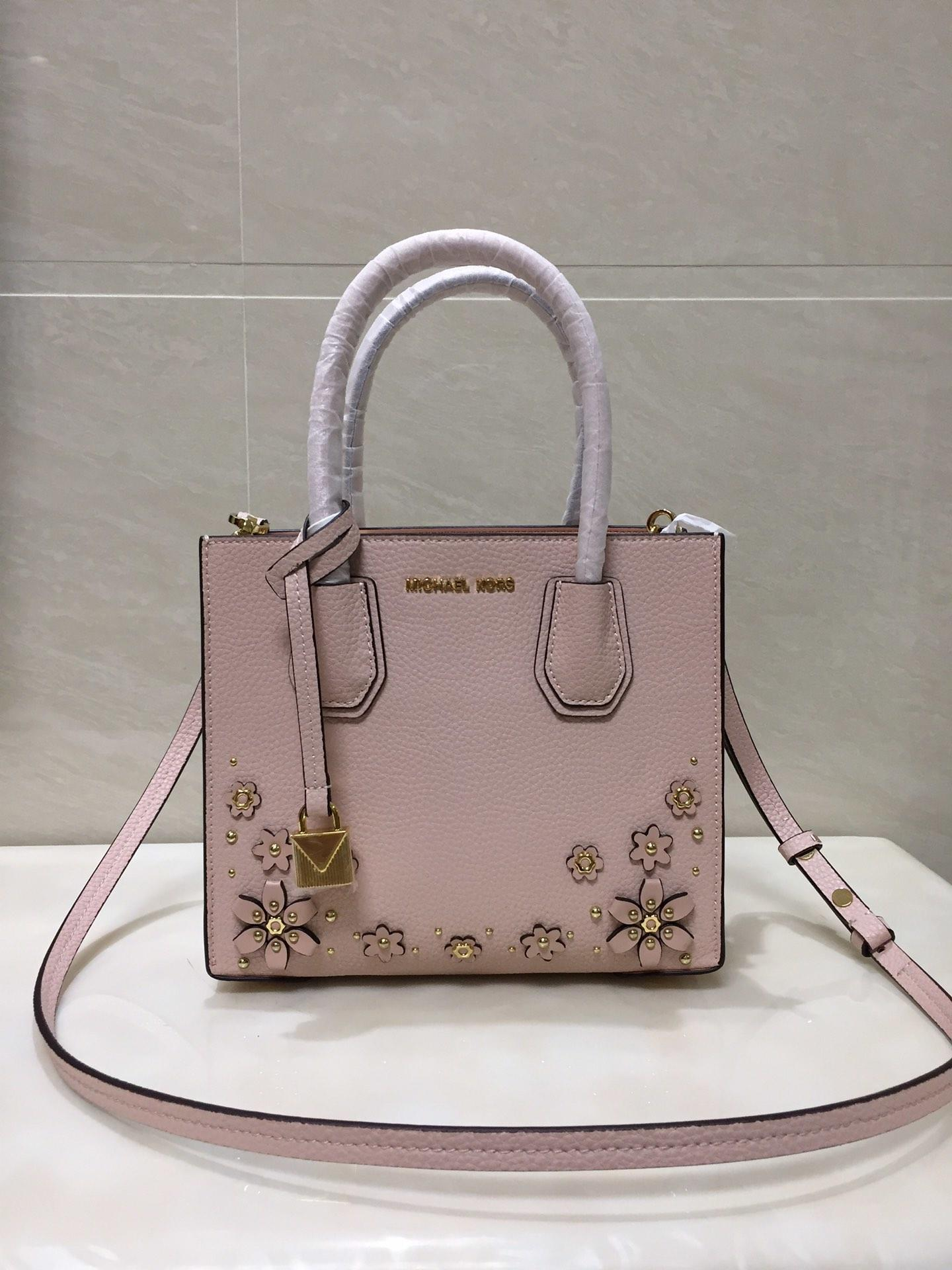 2018 New Replica Michael Kors Mercer Leather Tote Bag With Flower Pink