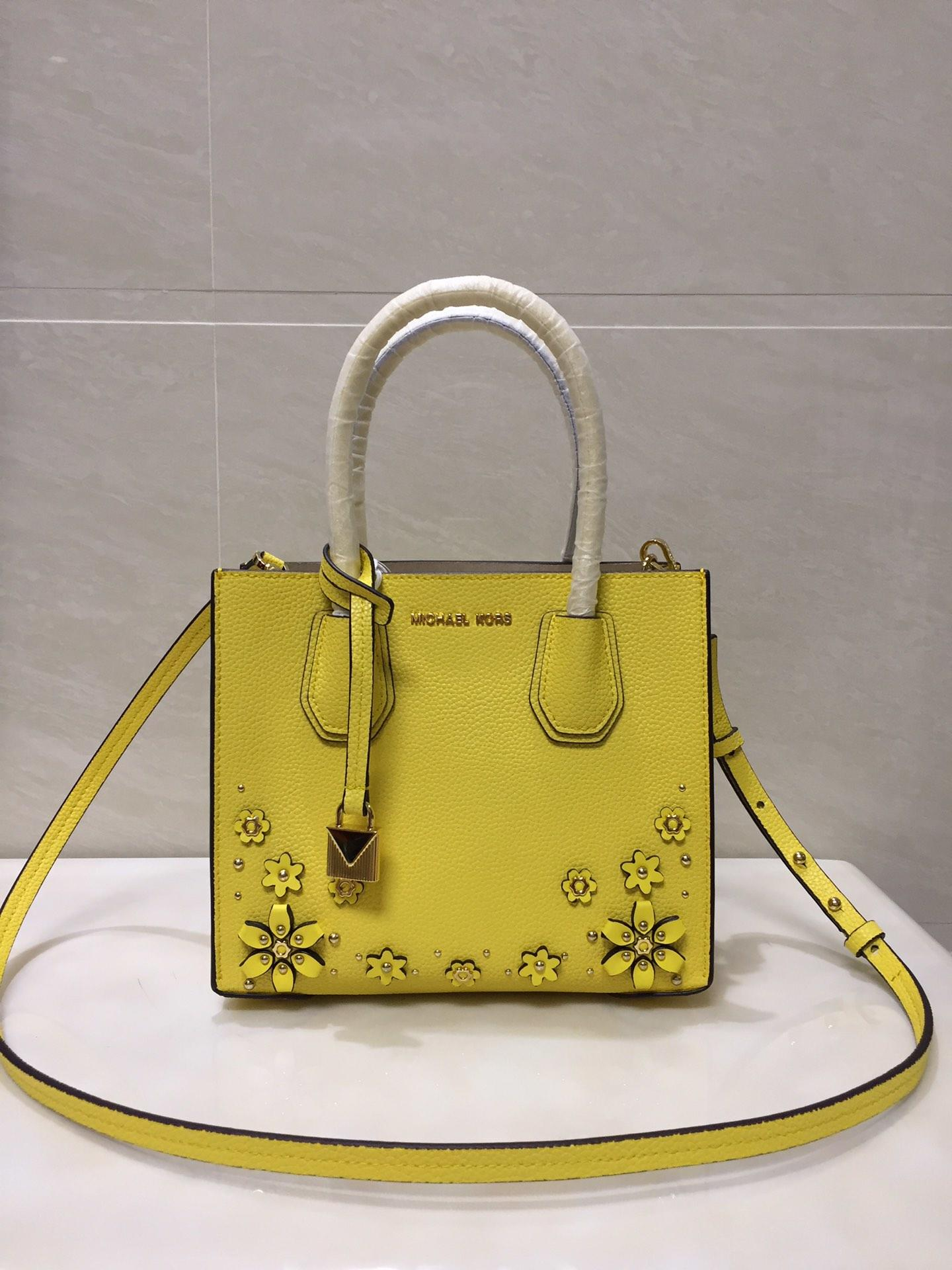 2018 New Replica Michael Kors Mercer Leather Tote Bag With Flower Yellow