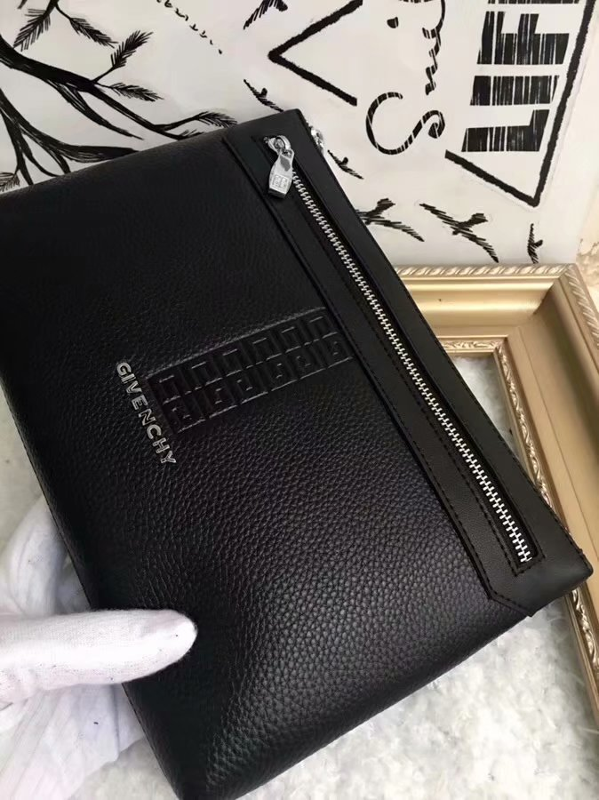 AAA Givenchy Men Leather Clutch Bag Black