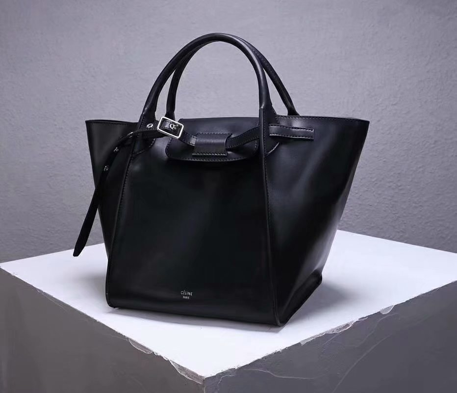 Best Price Celine Small Big Bag With Long Strap In Supple Grained Calfskin Black