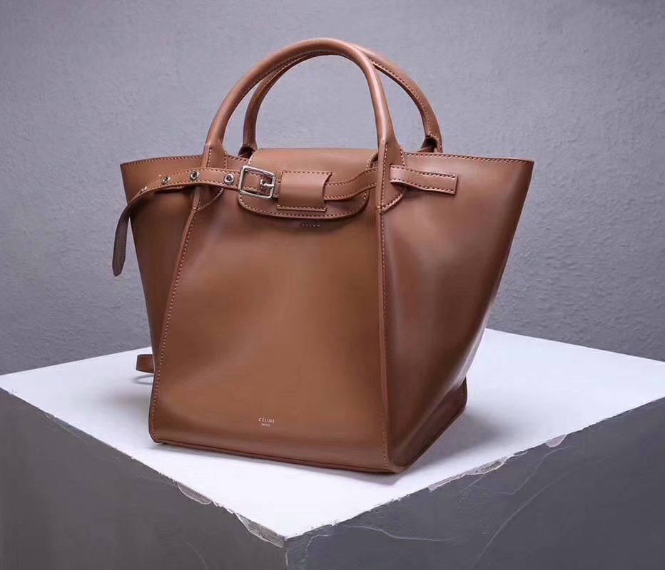 Best Price Celine Small Big Bag With Long Strap In Supple Grained Calfskin Coffee