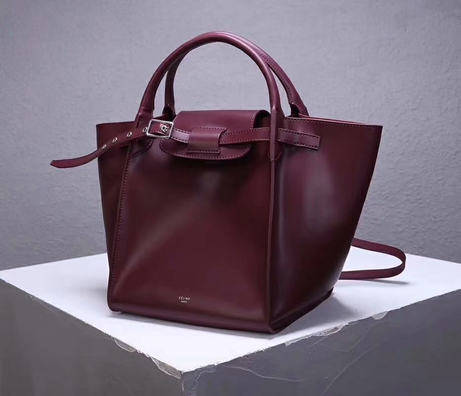 Best Price Celine Small Big Bag With Long Strap In Supple Grained Calfskin Dark Red