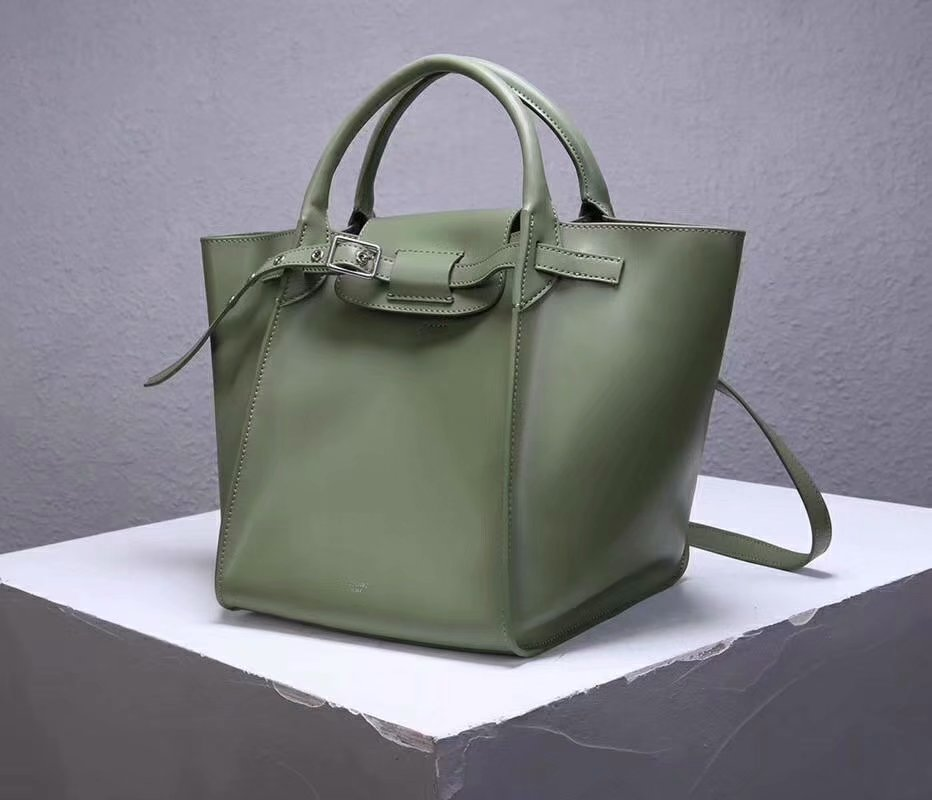 Best Price Celine Small Big Bag With Long Strap In Supple Grained Calfskin Green