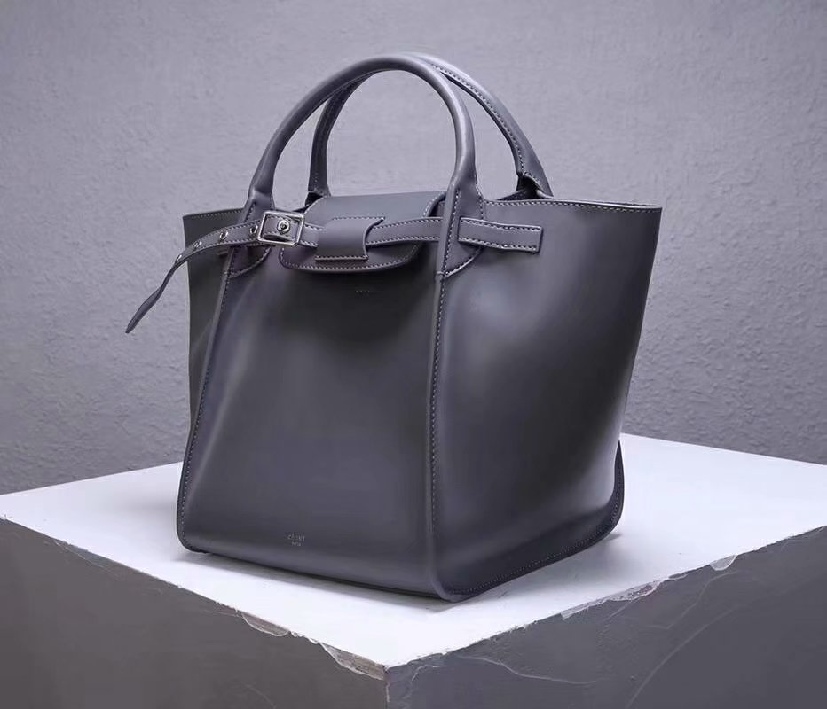 Best Price Celine Small Big Bag With Long Strap In Supple Grained Calfskin Grey