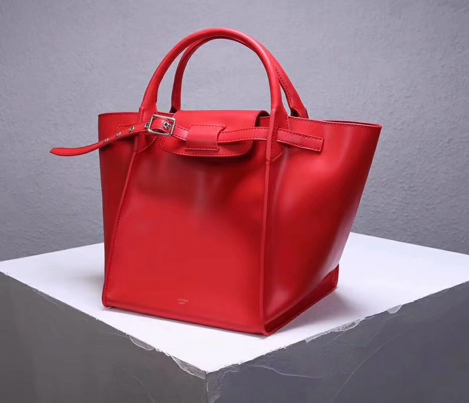 Best Price Celine Small Big Bag With Long Strap In Supple Grained Calfskin Red