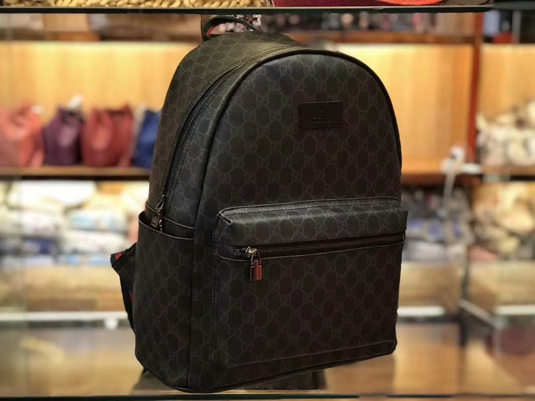 Best Price Gucci 77401 Men Backpack GG Supreme Small Backpack Black