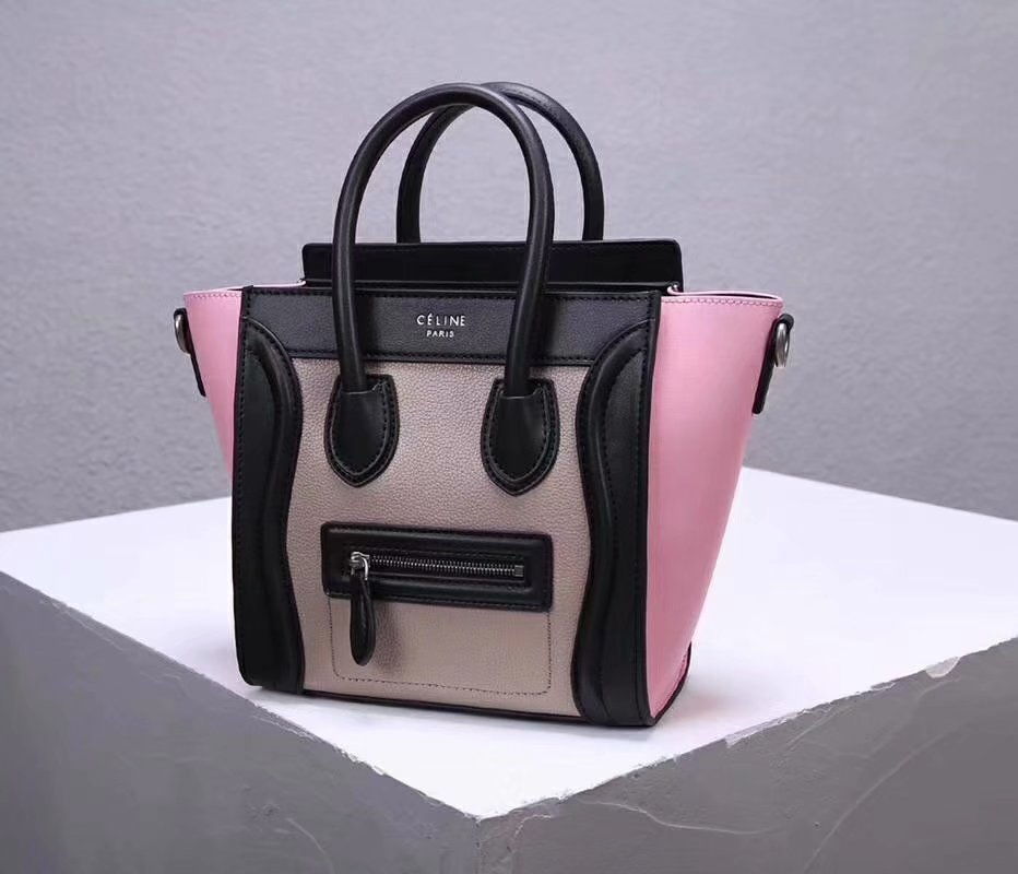 Cheap Replica Celine Nano Luggage Bag in Multicolour Baby Grained Calfskin Pink Black White