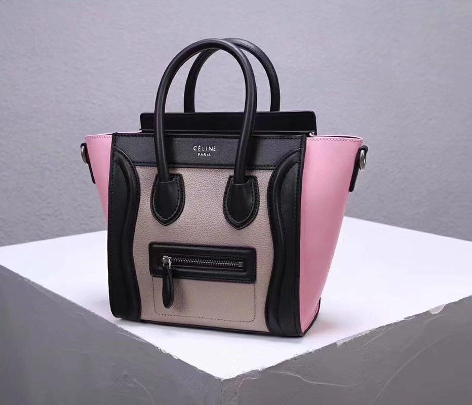 Cheap Replica Celine Nano Luggage Bag in Multicolour Baby Grained Calfskin Pink Black White