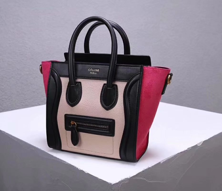 Cheap Replica Celine Nano Luggage Bag in Multicolour Baby Grained Calfskin Rose Black White