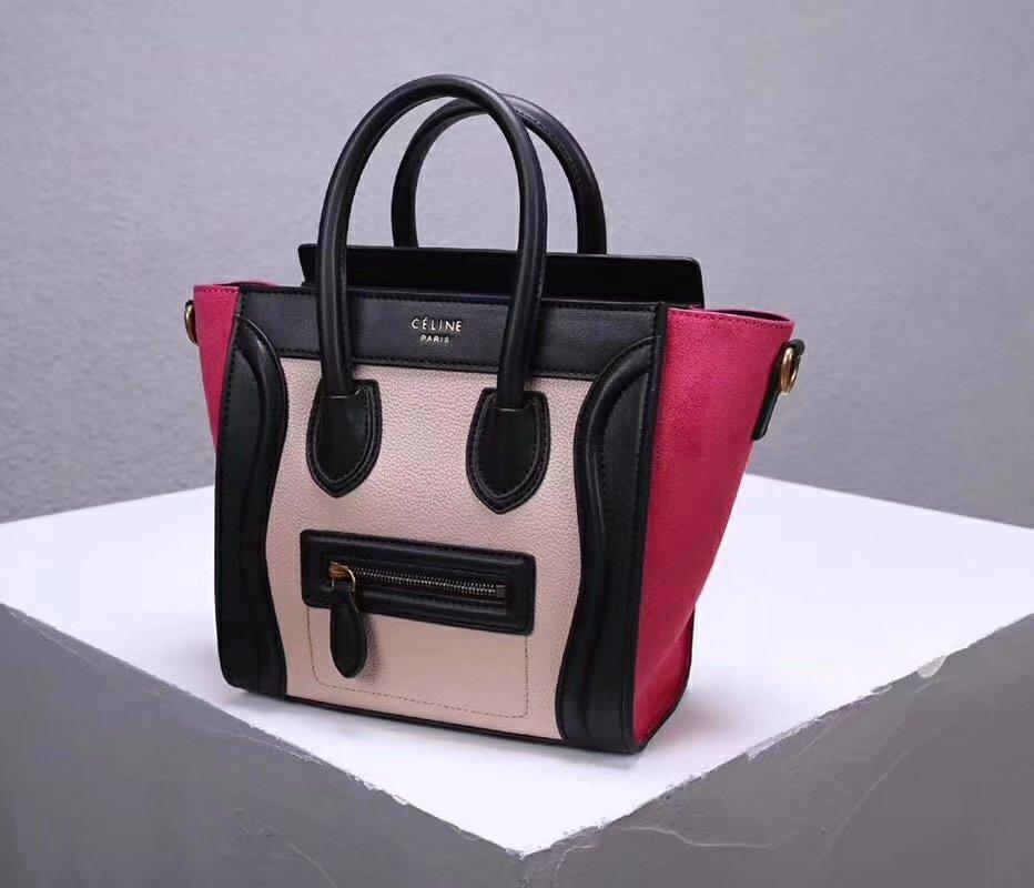 Cheap Replica Celine Nano Luggage Bag in Multicolour Baby Grained Calfskin Rose Black White