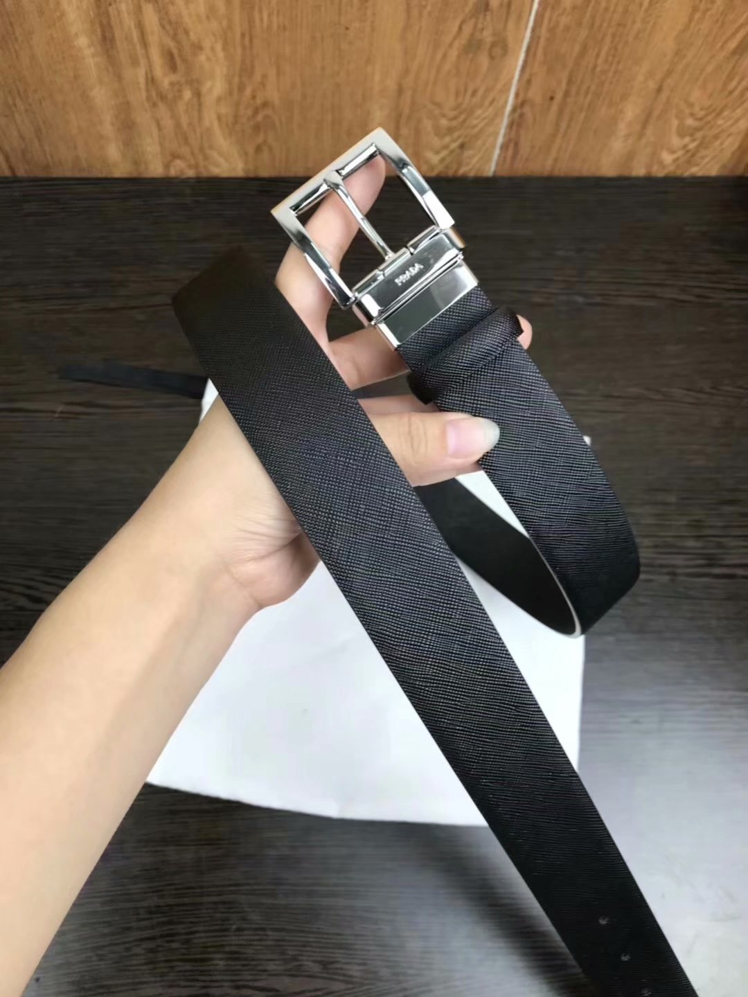 Cheap Replica Prada Width 3.5cm Men Leather Belt Black With Rotating Silver Buckle 011