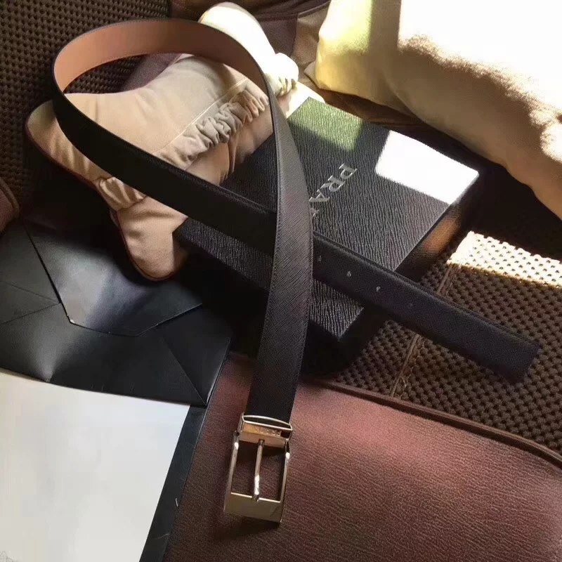 Cheap Replica Prada Width 3.5cm Men Leather Belt Black With Silver Buckle 007
