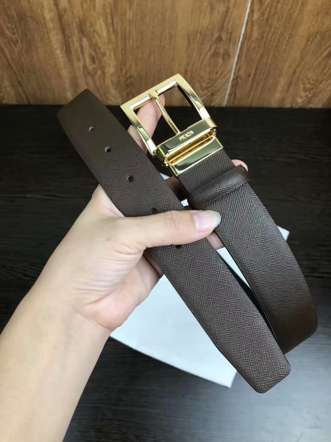 Cheap Replica Prada Width 3.5cm Men Leather Belt Brown With Rotating Gold Buckle 012