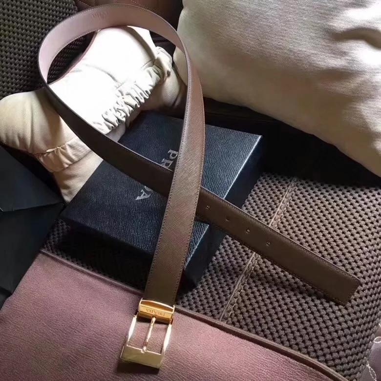 Cheap Replica Prada Width 3.5cm Men Leather Belt Khaki With Gold Buckle 008
