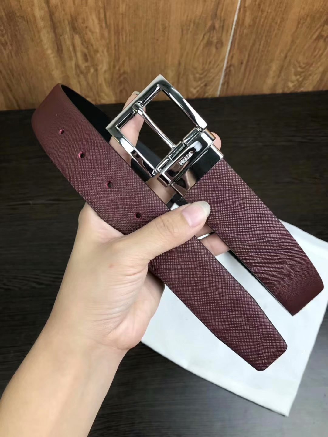 Cheap Replica Prada Width 3.5cm Men Leather Belt Red With Rotating Silver Buckle 010