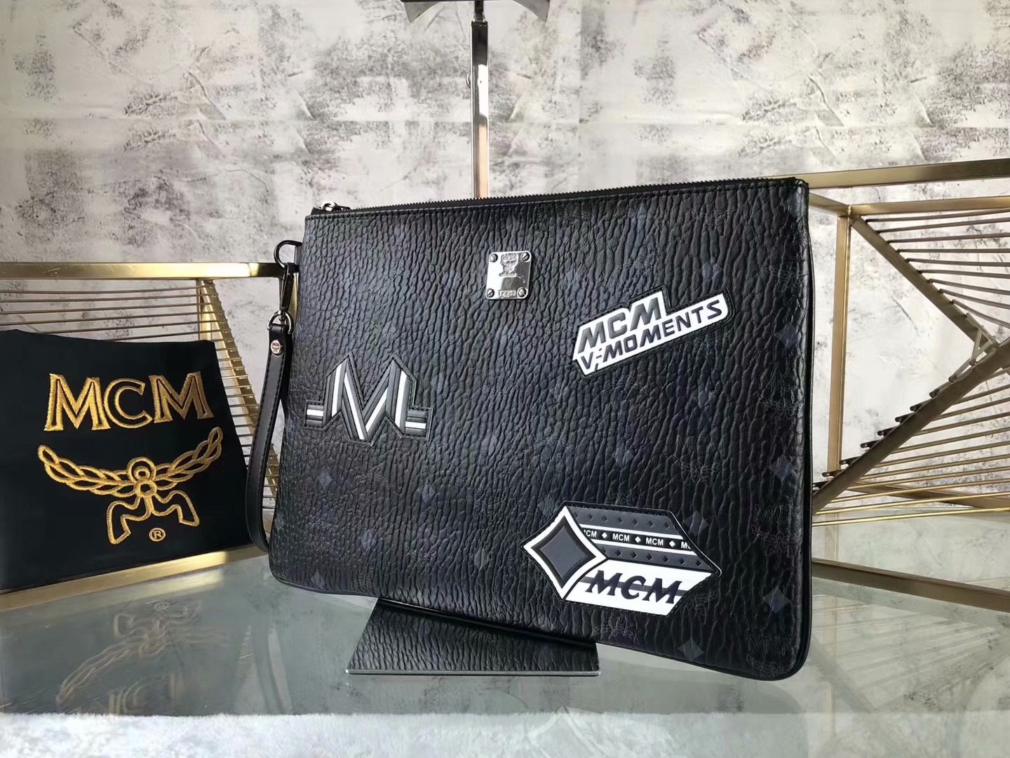 Copy MCM Print Men and Women Wristlet Zip Pouch in Visetos Black