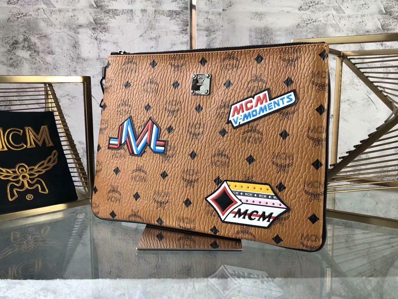 Copy MCM Print Men and Women Wristlet Zip Pouch in Visetos Cognac