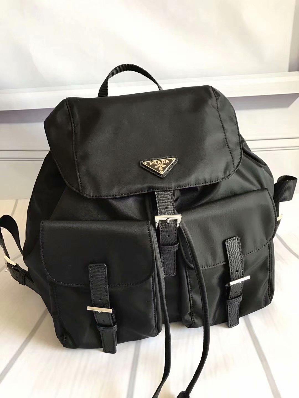 Copy Prada 1BZ811 Fabric Women Backpack Black