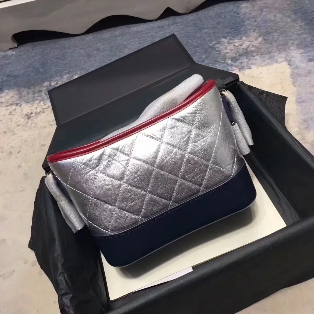 Fake Chanel Gabrielle Small Hobo Bag Denim Calfskin Gold Tone Metal Blue and Sivler