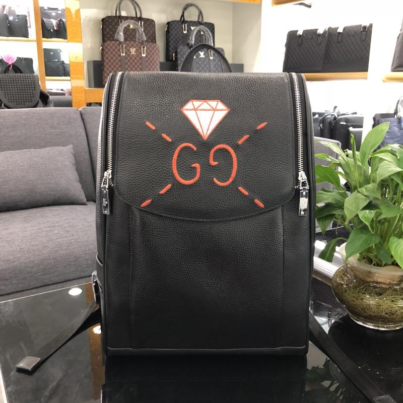 Fake Gucci 3838 Men Leather Backpack Black Cheap