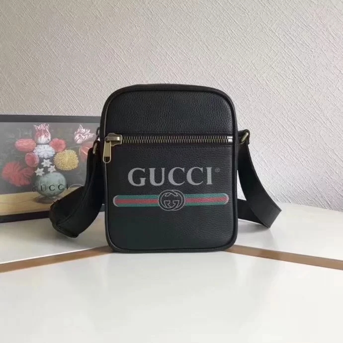 Fake Gucci 523591 Men Print Messenger Bag Black