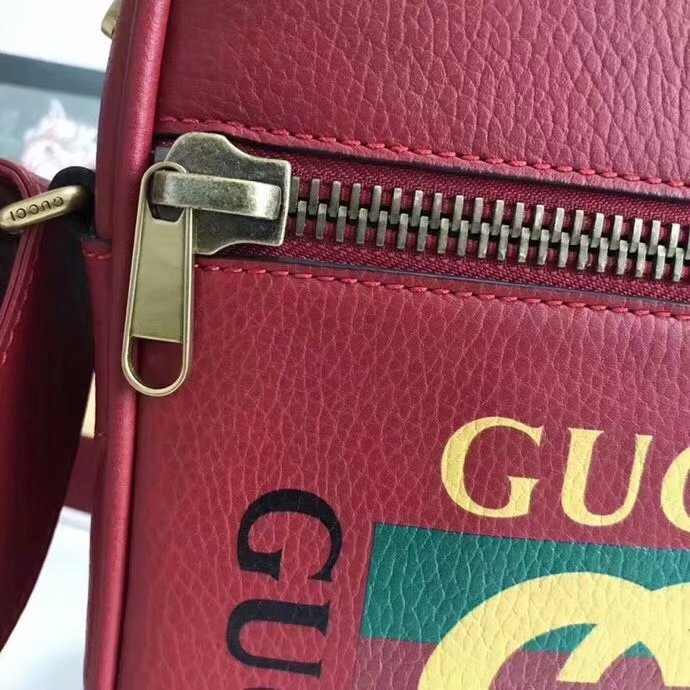 Fake Gucci 523591 Men Print Messenger Bag Red