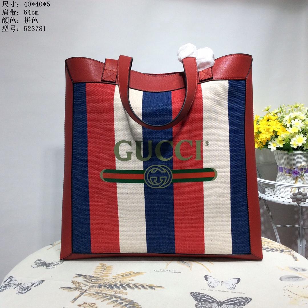 Gucci 523781 Print Medium Sylvie Stripe Canvas Tote Bag