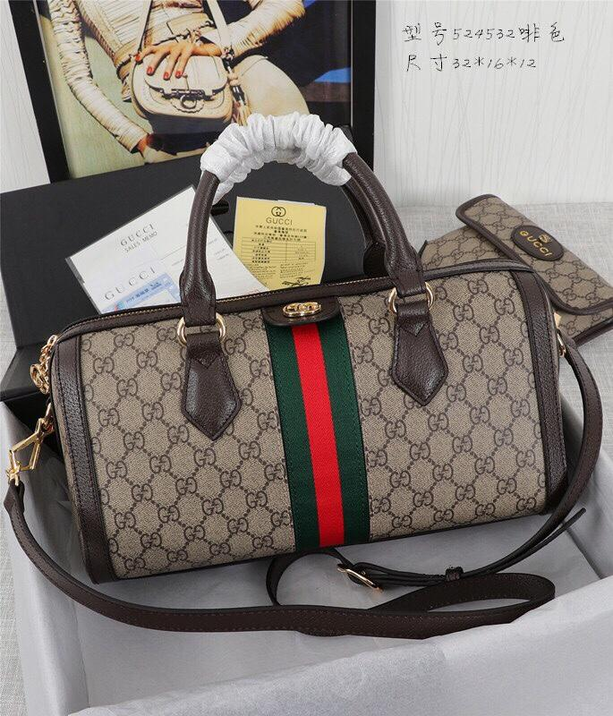 Gucci 524532 Ophidia GG Medium Top Handle Bag Brown