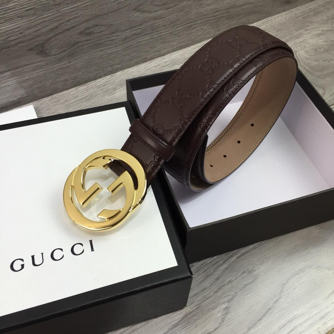 Gucci Width 4cm Men Belt Brown With Gold Buckle 043