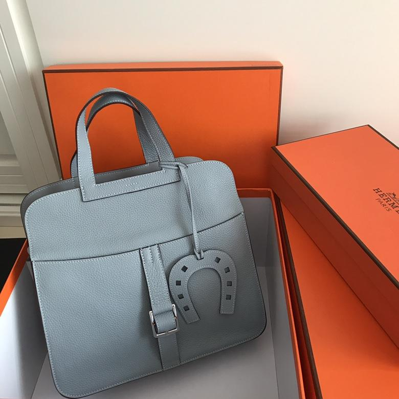Hermes Halzan 31cm Light Blue Swift Calfskin Bag