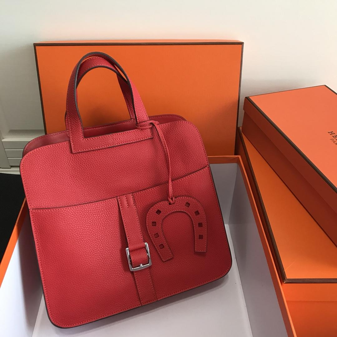 Hermes Halzan 31cm Swift Calfskin Bag Red