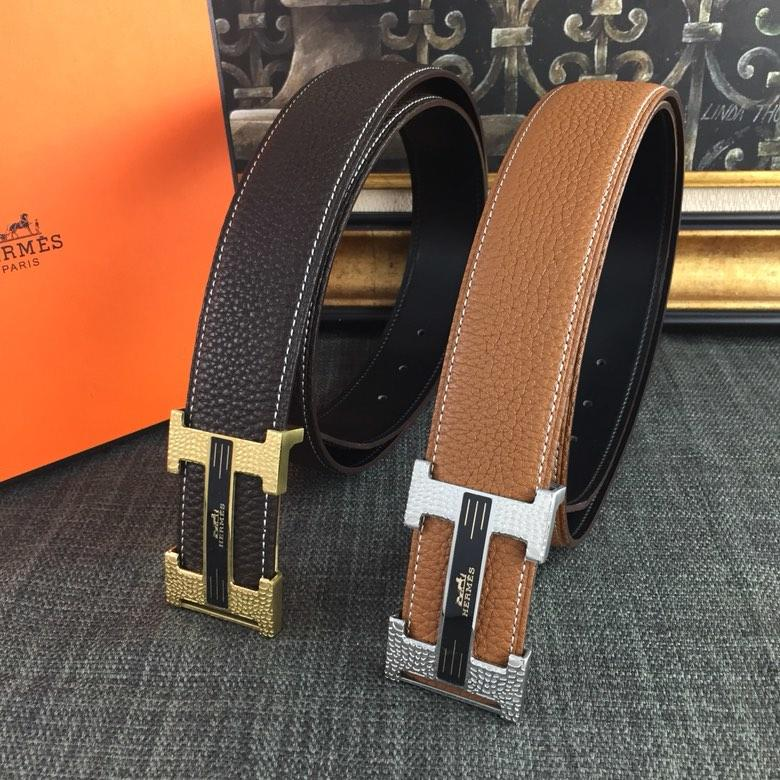 Hermes Reversible Leather Men Belt With Gold Buckle 038