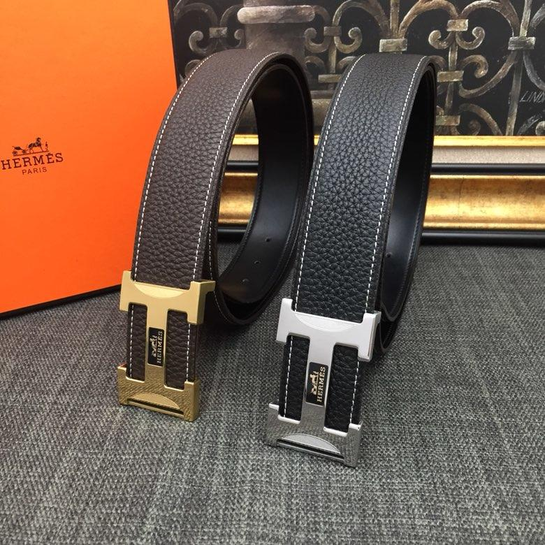 Hermes Reversible Leather Men Belt With Gold Buckle 040