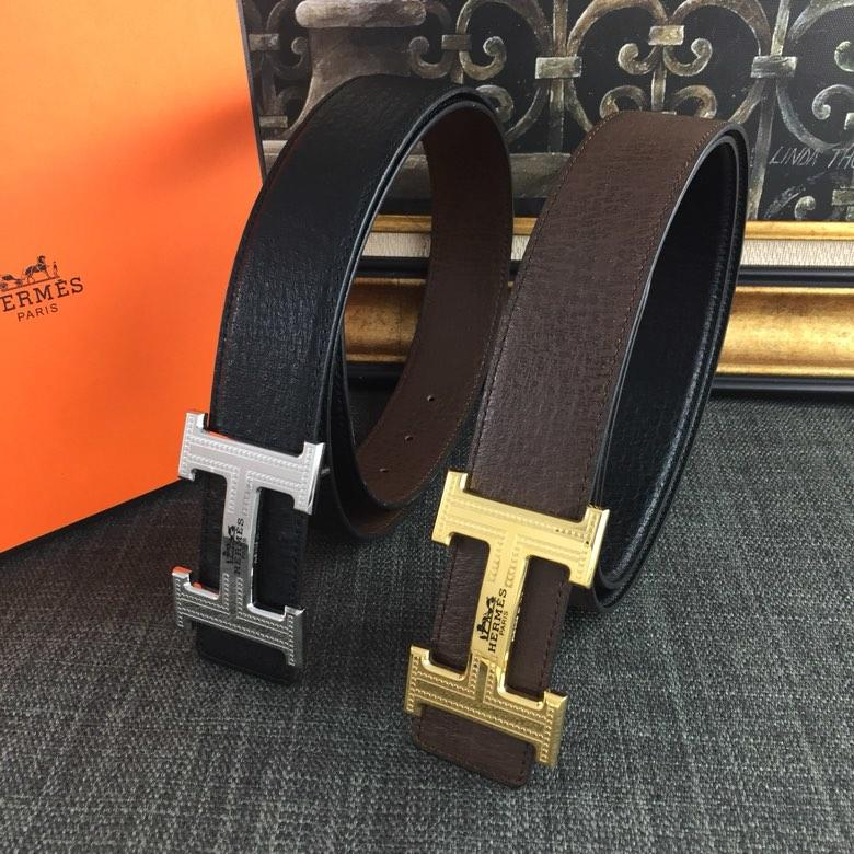 Hermes Reversible Leather Men Belt With Silver Buckle 039