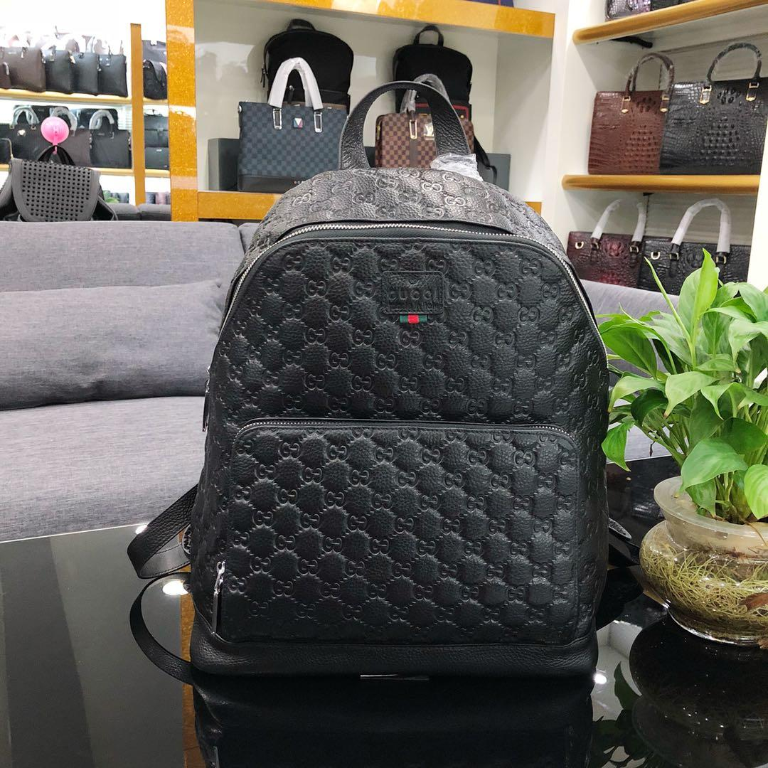 High Quality Gucci 6888 Signature Men Leather Backpack Black