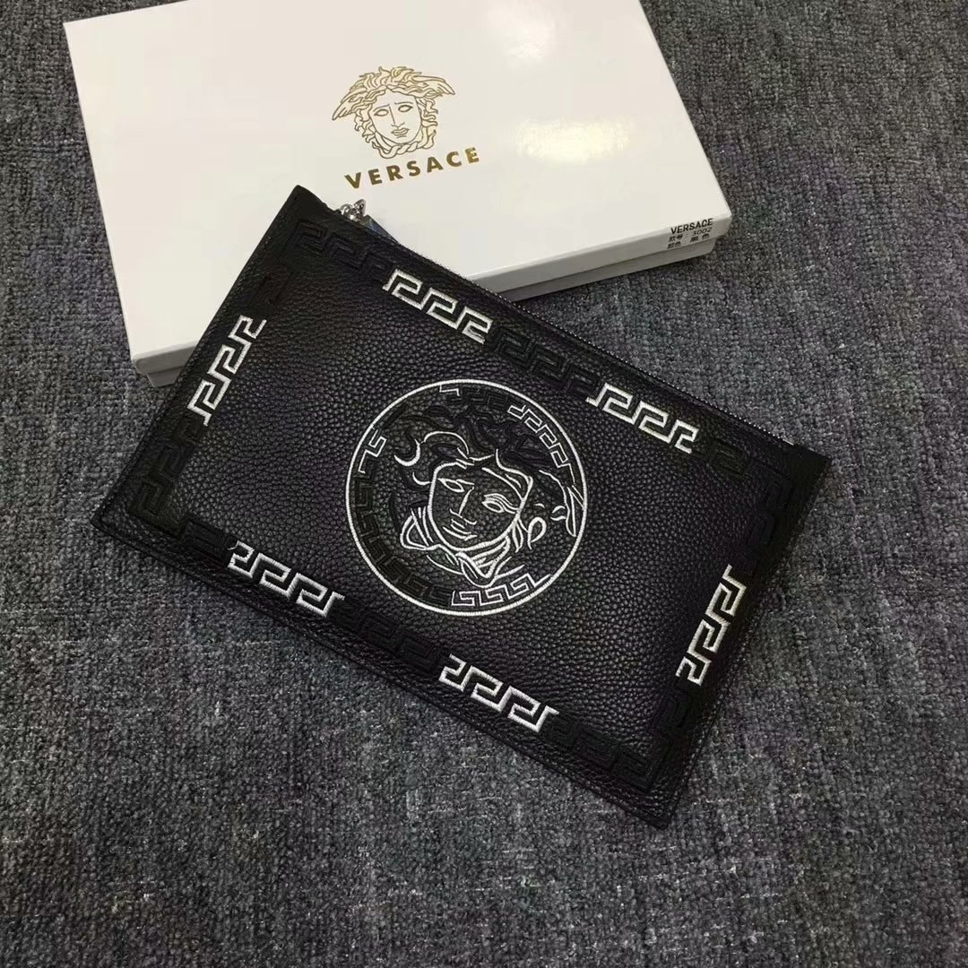NEW Replica Versace Men Leather Clutch Bag Black