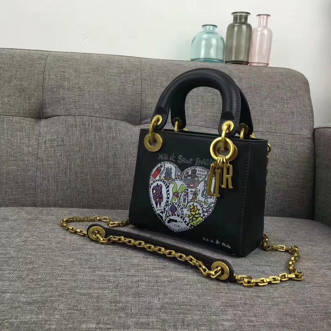 Original Copy Dior Mini Lady Bag In Black Smooth Calfskin With Textured Niki De Saint Phalle Print