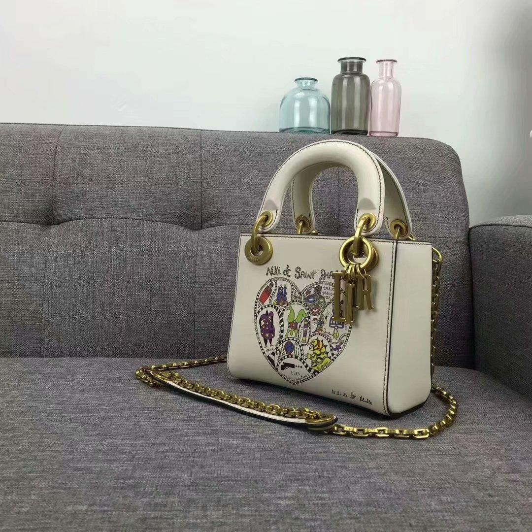 Original Copy Dior Mini Lady Bag In White Smooth Calfskin With Textured Niki De Saint Phalle Print