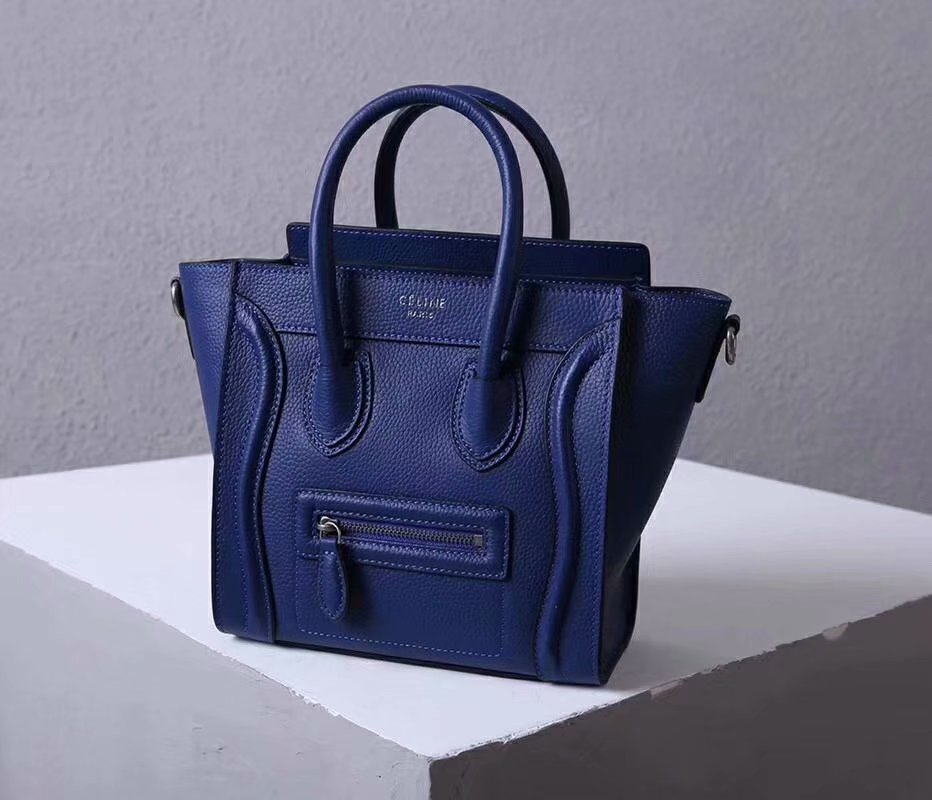 Perfect Replica Celine Nano Luggage Bag in Durmmed Calfskin Blue