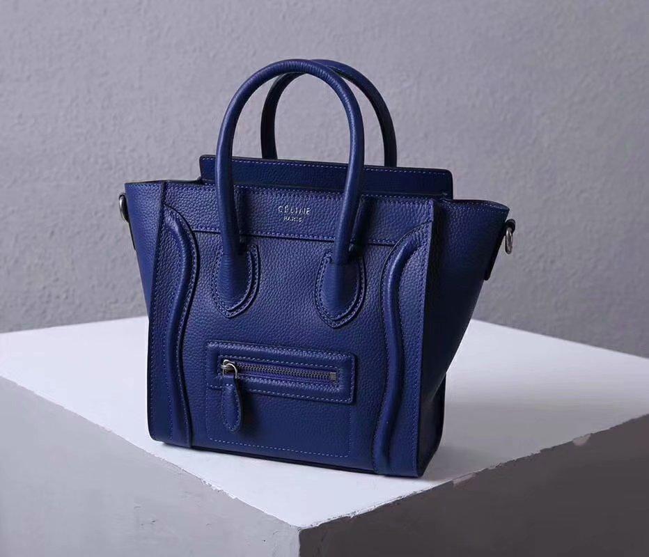 Perfect Replica Celine Nano Luggage Bag in Durmmed Calfskin Blue