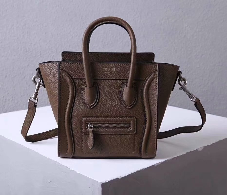 Perfect Replica Celine Nano Luggage Bag in Durmmed Calfskin Dark Coffee