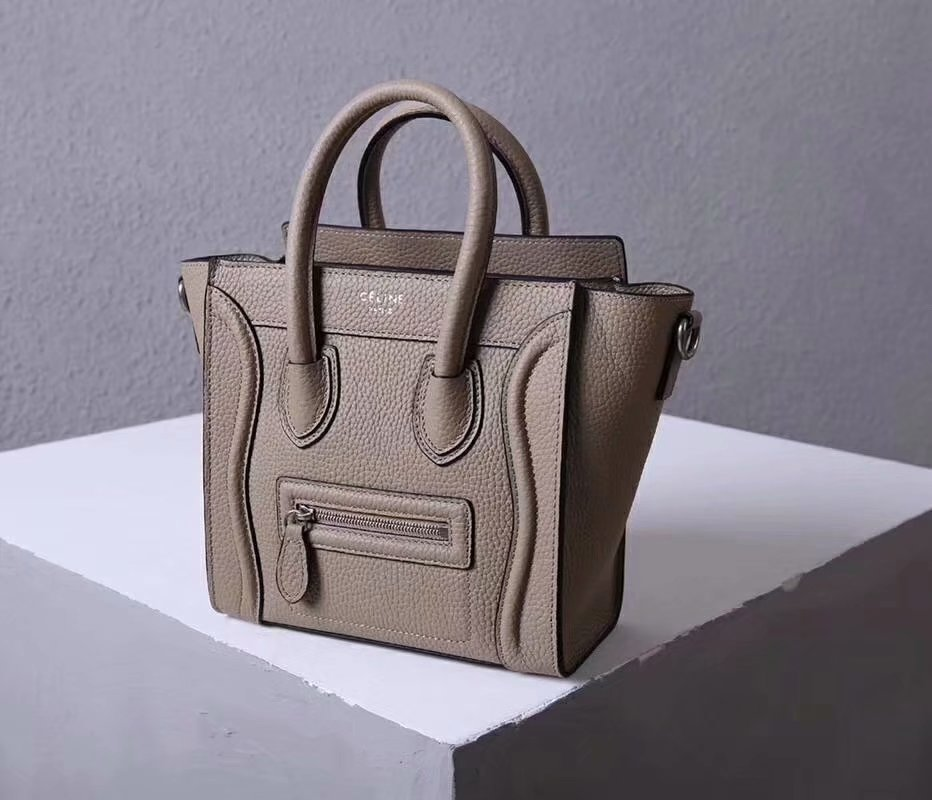 Perfect Replica Celine Nano Luggage Bag in Durmmed Calfskin Gray