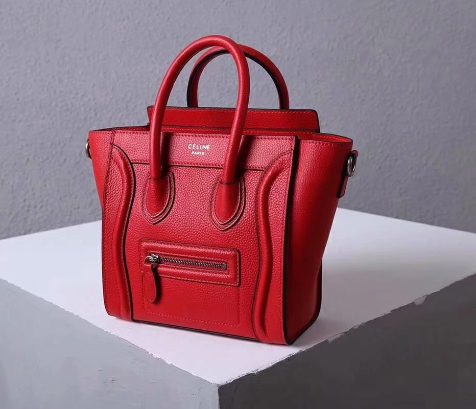 Perfect Replica Celine Nano Luggage Bag in Durmmed Calfskin Red