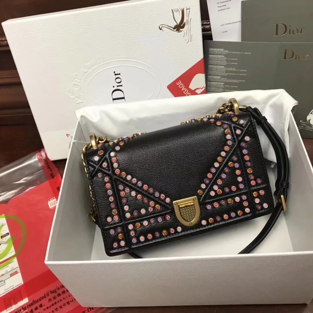 Perfect Replica Dior Small Diorama Bag in Multi Coloured Studded With BlackMetallic Calfskin