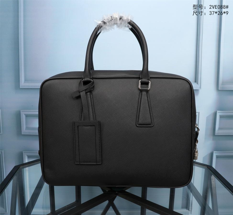 Prada 2VE088 Men Leather Briefcase Black